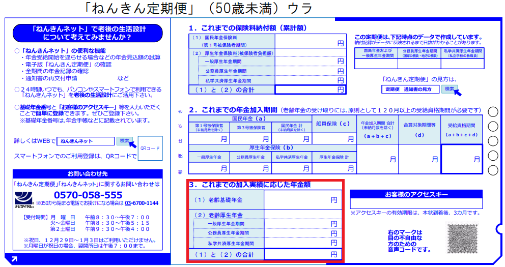 ねんきん定期便 50歳未満 加入に応じた年金額